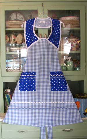 1940 in Blue Gingham Blue Polka Dots