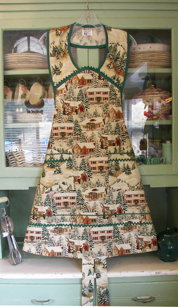 1940 Old Time Village Christmas with green trim and Ric Rac