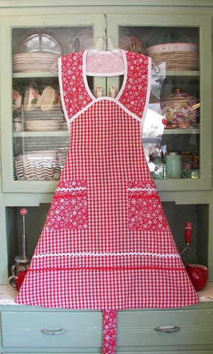 1940 Red gingham  red snowflake