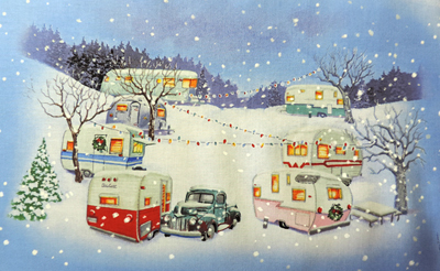 Close up Vintage Christmas trailers and trucks
