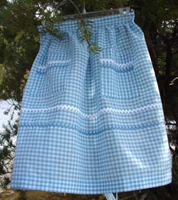 Blue Gingham half apron (also comes in Red or yellow gingham.