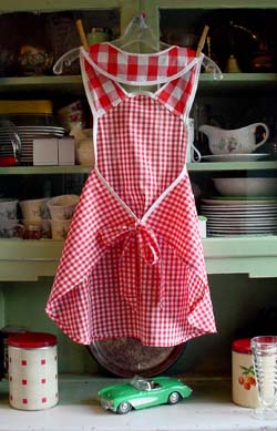 back of red gingham apron