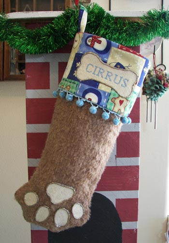 Cog Paw Christmas Stocking brown fur with blue trim
