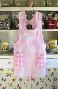Grandma pink gingham old fashioned