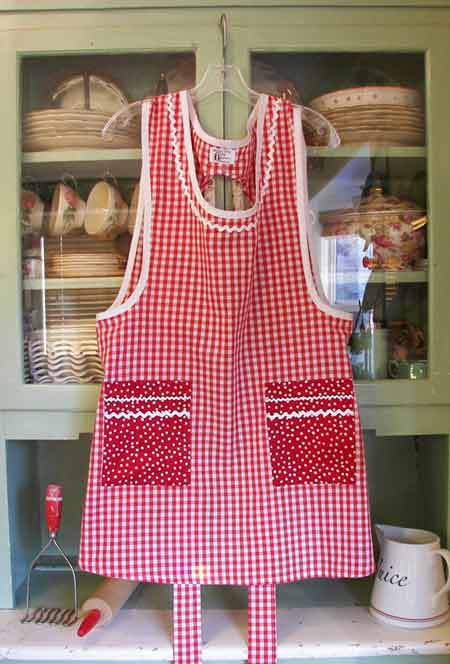 Grandma Red Gingham with red polka dot pockets