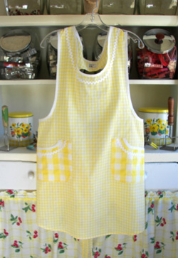 Violet Yellow Gingham apron